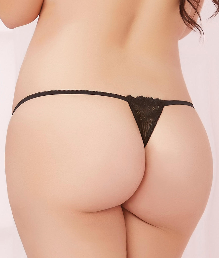 Black||Plus Size Lace-Up Thong in Black