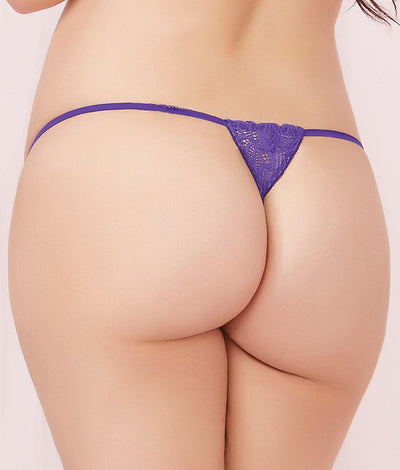 Plus Size Lace-Up Thong in Purple