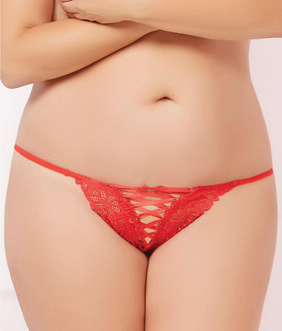 Plus Size Lace-Up Thong in Red