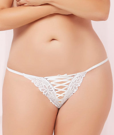 Plus Size Lace-Up Thong in White