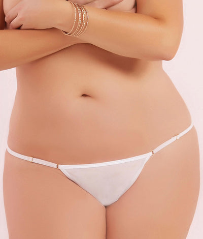 Plus Size Mesh Thong in White