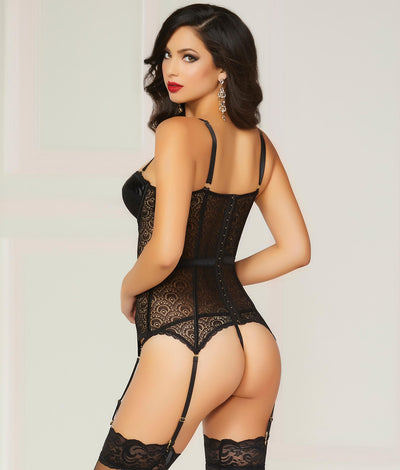Pleasure Principle Bustier Set in Black