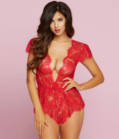 Temptation Lace Wire-Free Romper in Red