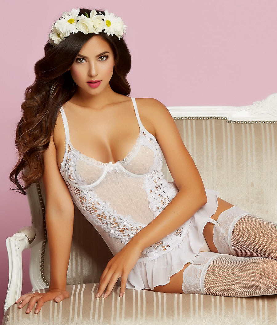White||Earth Angel Bustier Set in White