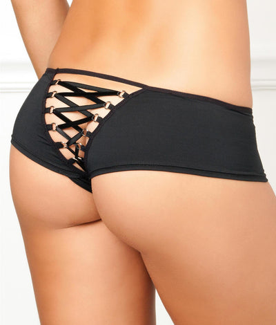 Crotchless Lace-Up Back Boyshort in Black