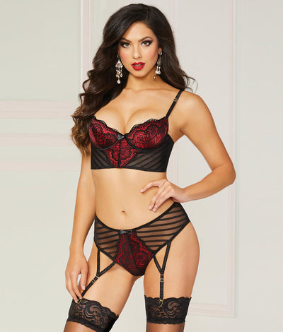 Starstruck Longline Bra & Garter Set in Black