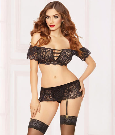 French Kiss Wire-Free Bra & Garter Set in Blac
