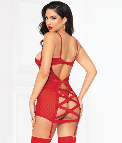 Love Affair Chemise & Garter Set in Red