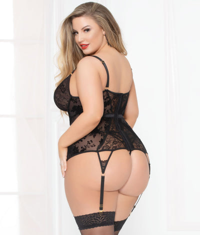Plus Size Simply Gorgeous Bustier Set in Black
