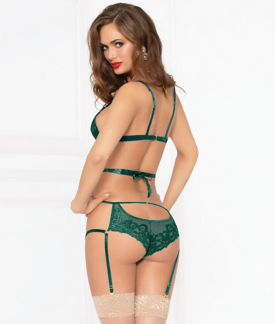Green||Kiss Of Envy Ribbon Bondage Bra and Panty Set in Green