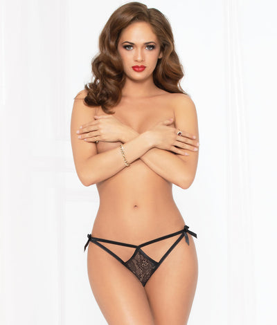 Strappy Satin Bow Crotchless Thong in Black