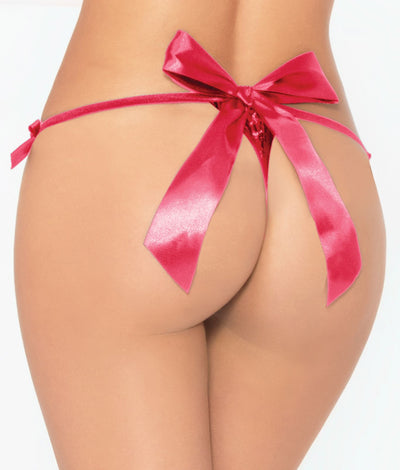 Strappy Satin Bow Crotchless Thong in Hot Pink