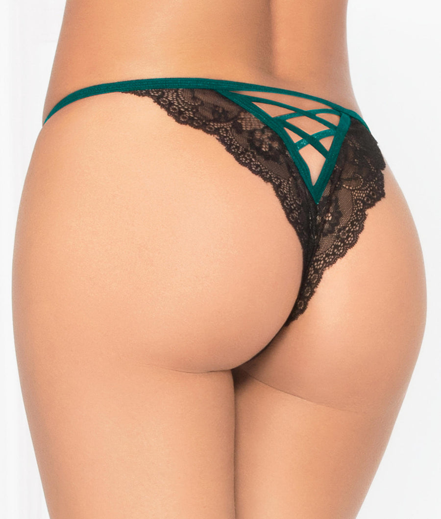 Green||Mesh & Lace Crotchless Tanga in Green