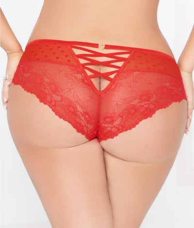 Plus Size Heart Lace-Up Cheeky Bikini in Red