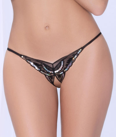 Crotchless Open-Back Butterfly Bikini in Black