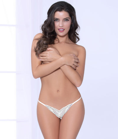Crotchless Open-Back Butterfly Bikini in White