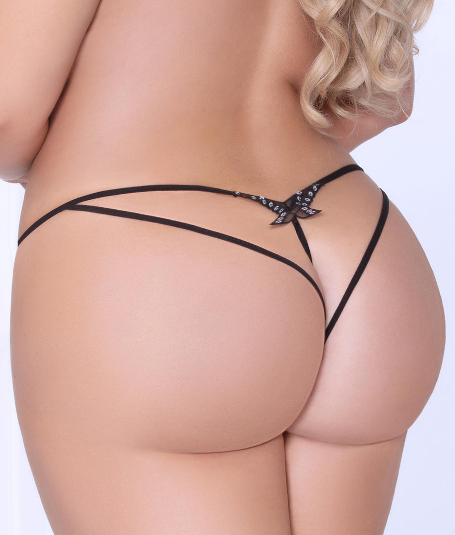 Black||Plus Size Crotchless Open-Back Butterfly Bikini in Black