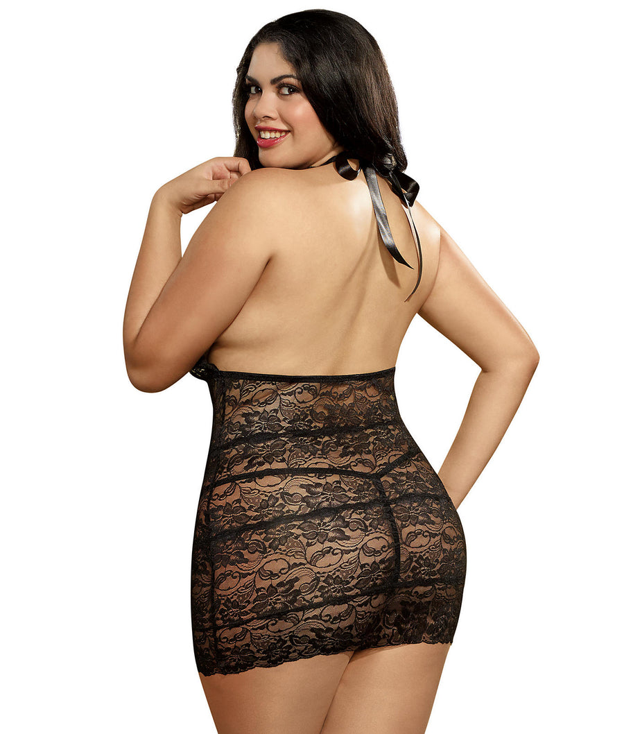 Plus Size High Neck Chemise