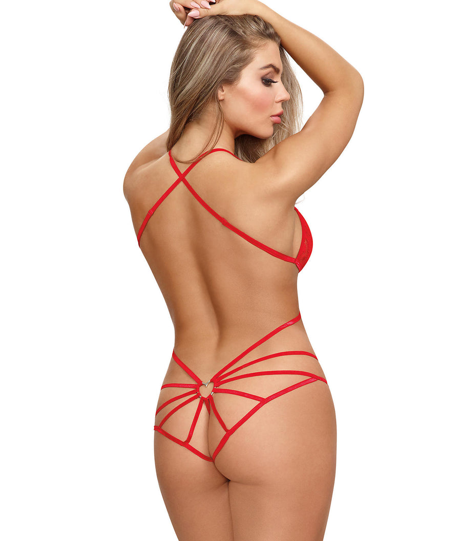 Heart Lace Crotchless Wire-Free Teddy