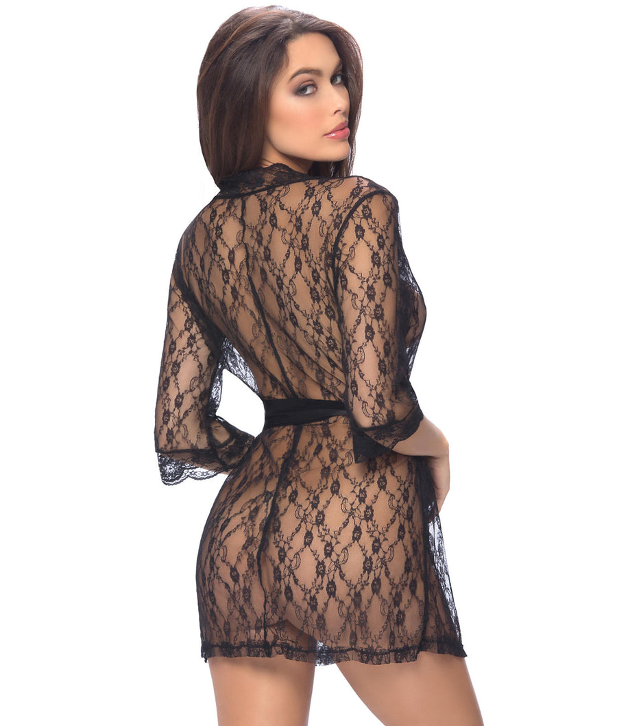 Black||Lace Robe in Black