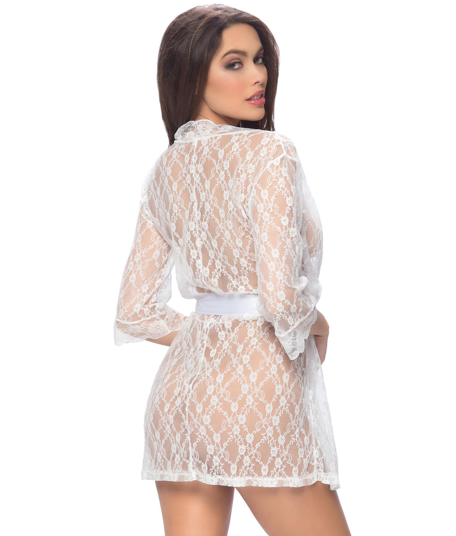 White||Lace Robe in White