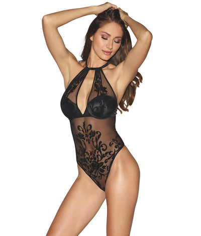 Velvet Jacquard Mesh Teddy in Black