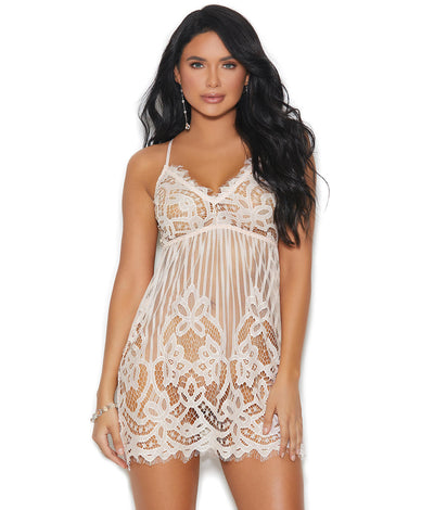 Rhyan Lace Chemise in Blush Ivory