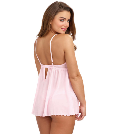 Lace-Up Babydoll Set in Vintage Pink