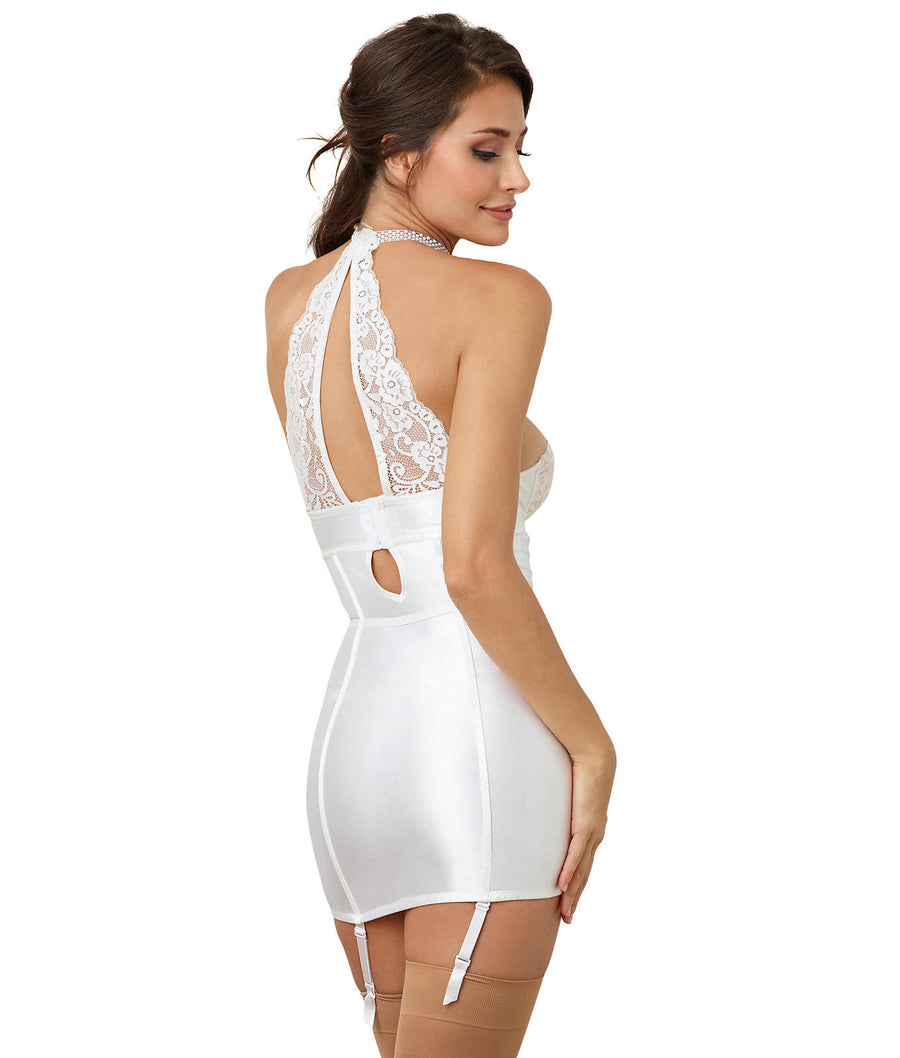 White||Satin & Lace Gerter Chemise in White