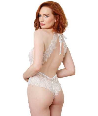 Eyelash Lace Halter Teddy in White