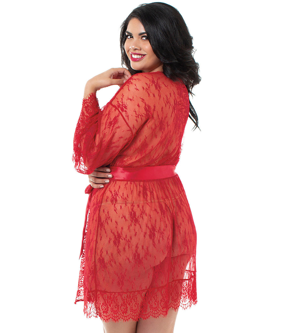 Red||Plus Size Sheer Lace Satin Ribbon Robe in Red
