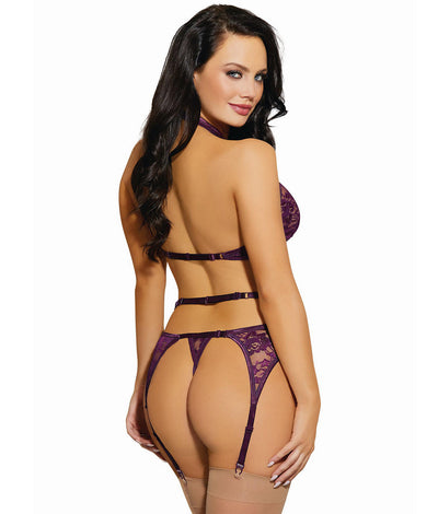 Criss-Cross Lace Bra & Garter Set in Plum