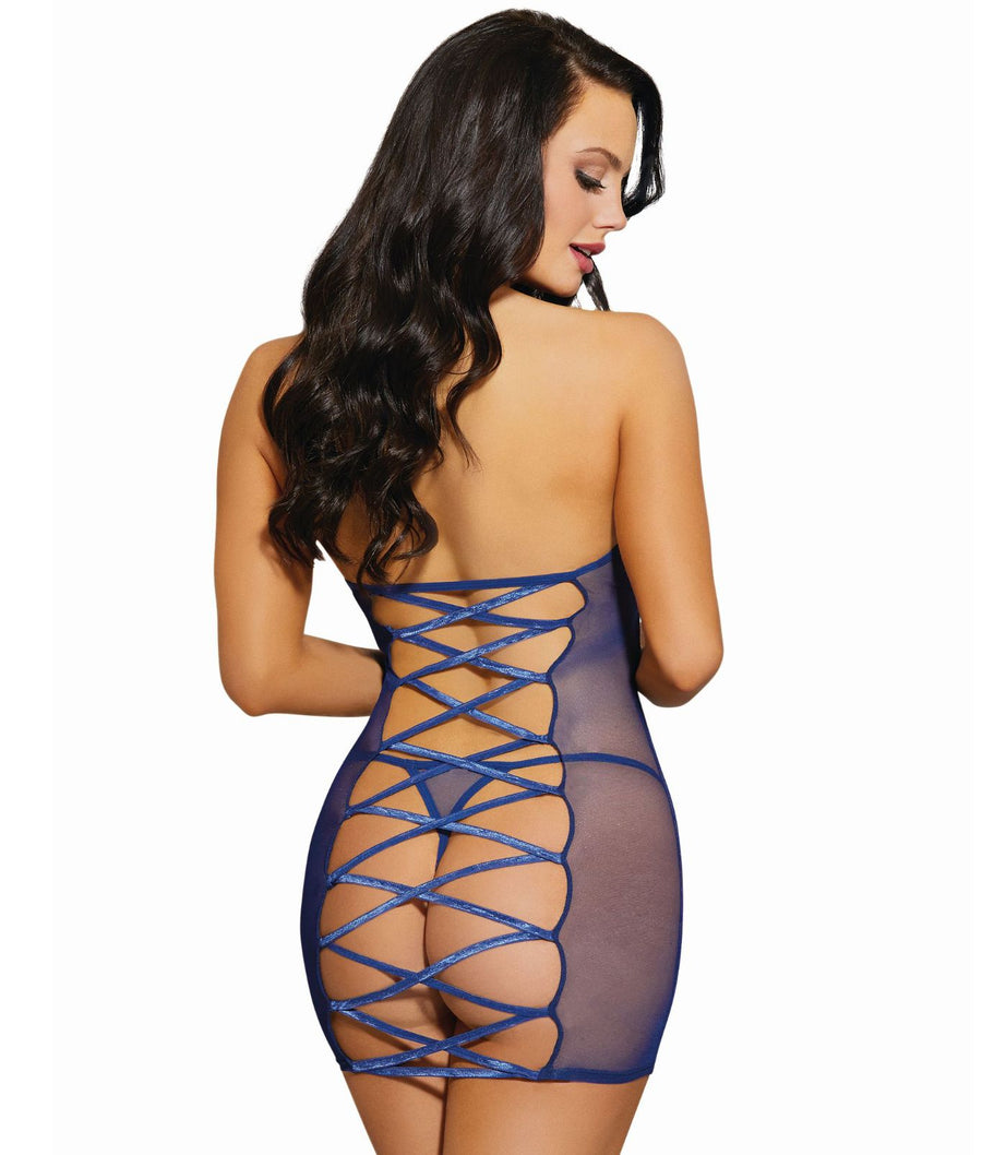 Lace-Up Chemise Set