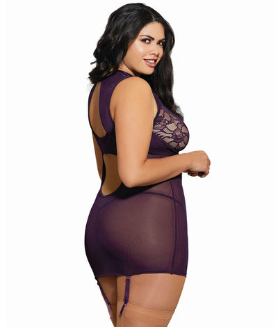 Plus Size Mesh & Lace Garter Chemise Set in Plum