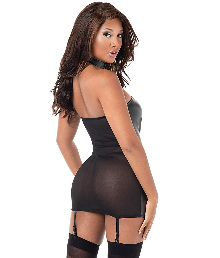 Faux Leather Heart Garter Chemise Set