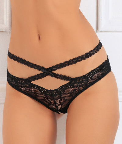 Oh My Lace Crotchless Bikini in Black