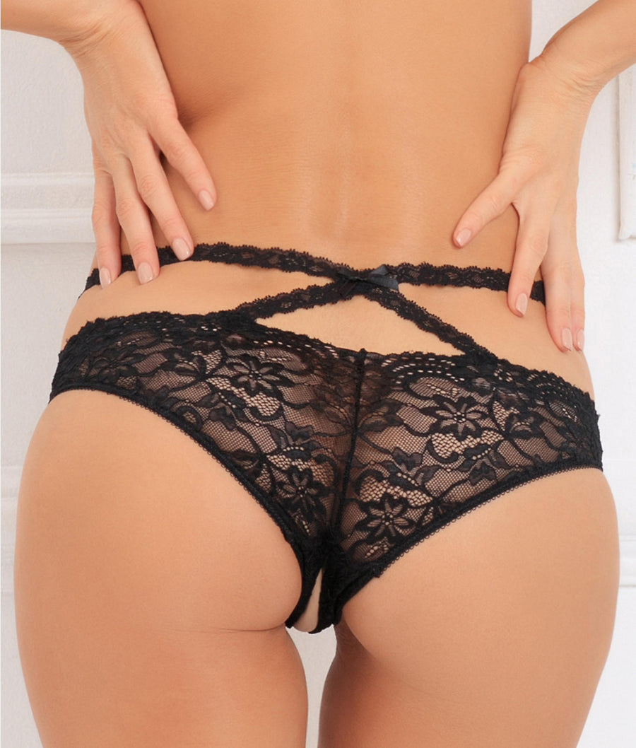 Black||Oh My Lace Crotchless Bikini in Black