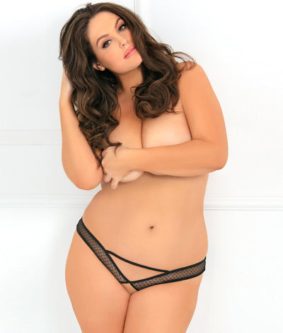 Plus Size Dot To Trot Crotchless Panty in Black