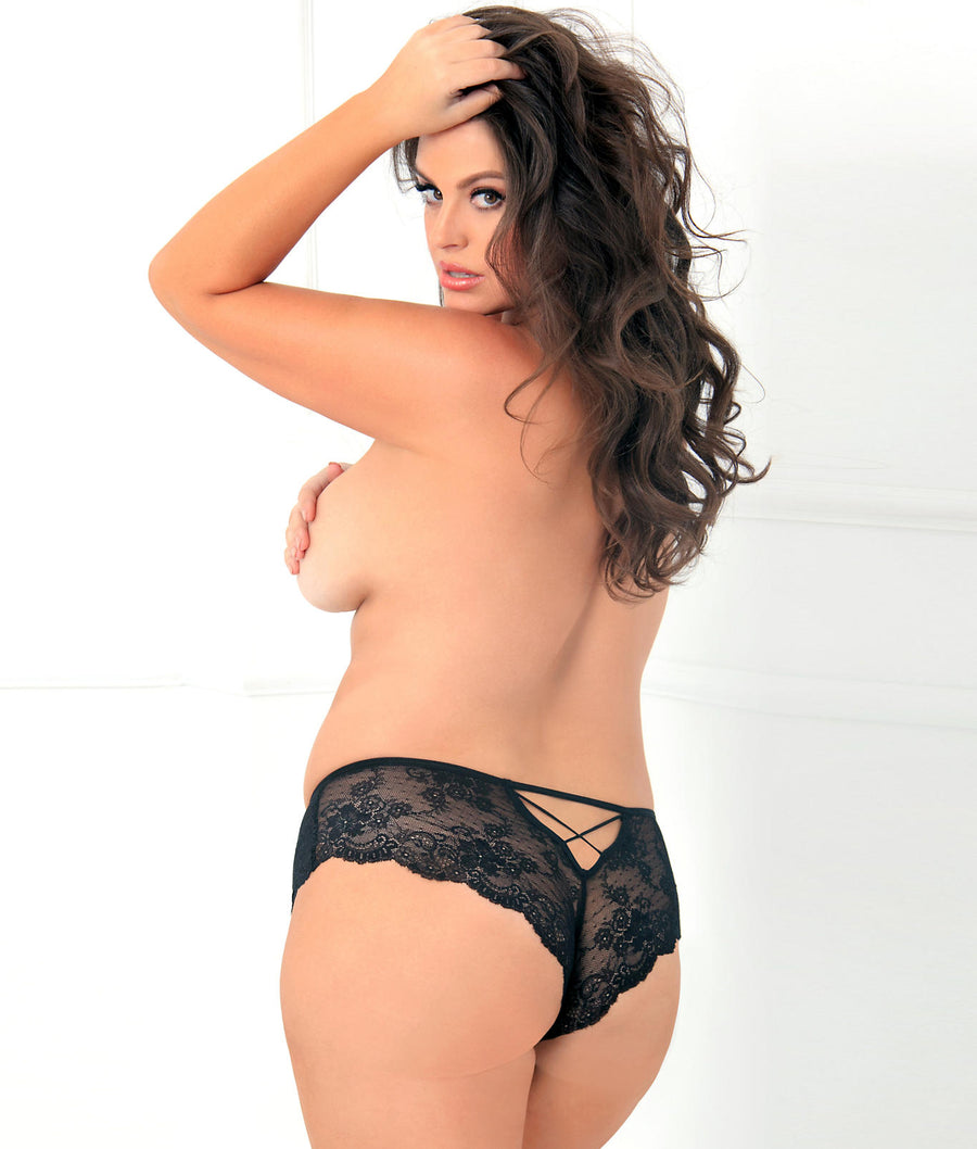 Black||Plus Size Deep-V Crotchless Panty in Black