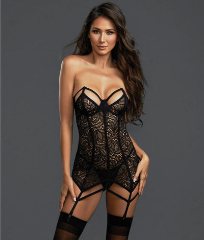 Fierce Bustier Garter Set in Black