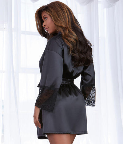 Satin And Lace Robe in Black