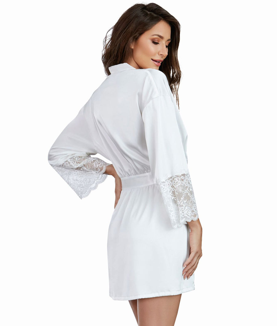 White||Satin And Lace Robe in White