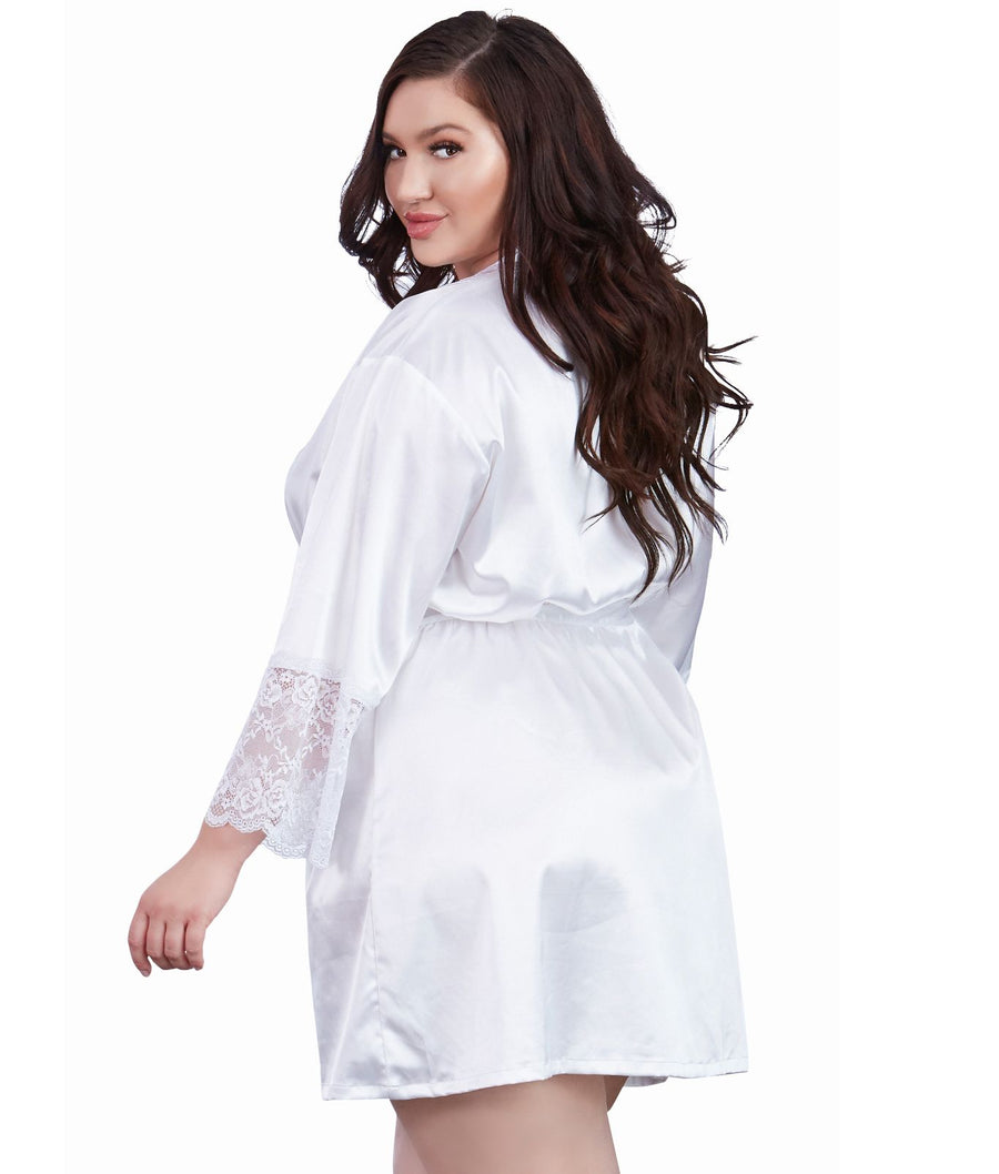 White||Plus Size Satin And Lace Robe in White