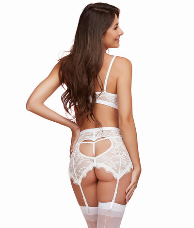 Shimmering Lace Bra & Garter Set in White