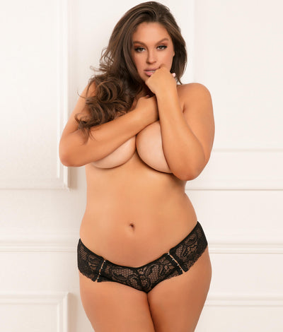 Plus Size Hot Hook Crotchless Boyshort in Black