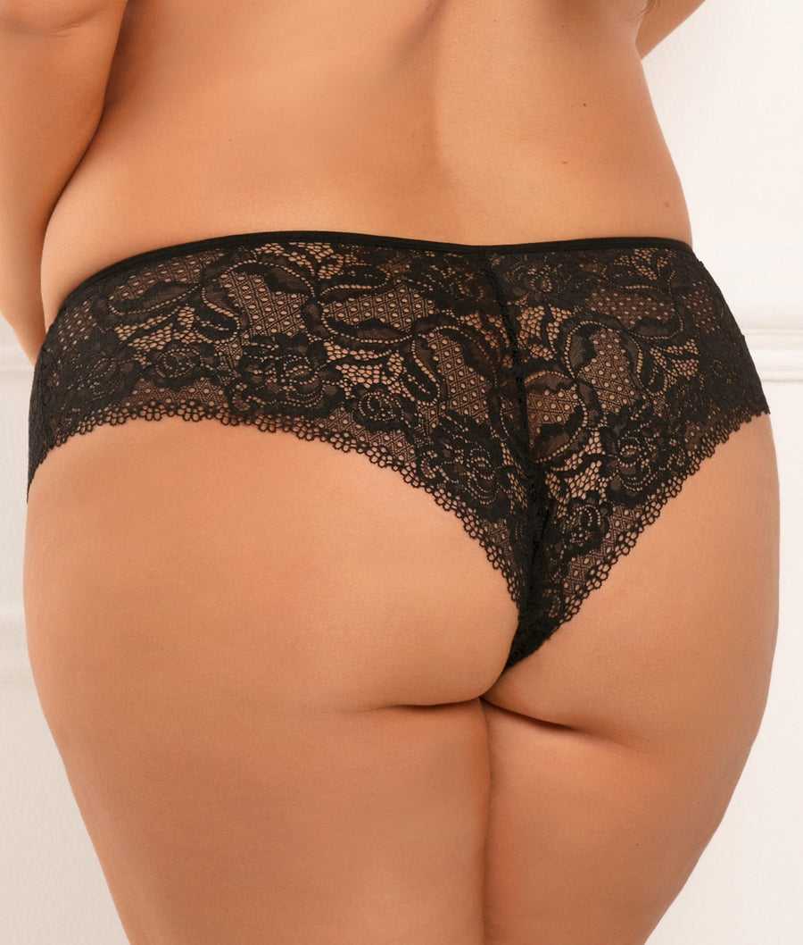 Black||Plus Size Hot Hook Crotchless Boyshort in Black