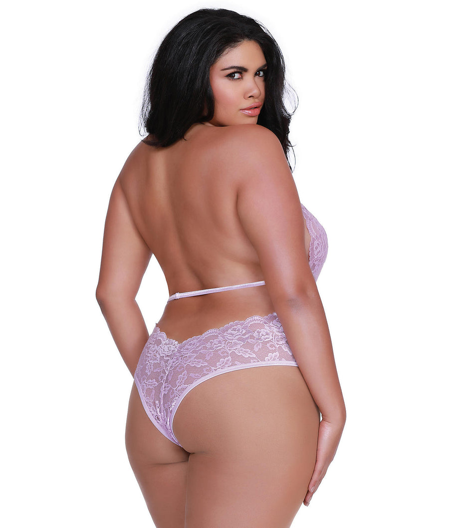 Lilac||Plus Size High Neck Harness Lace Teddy in Lilac