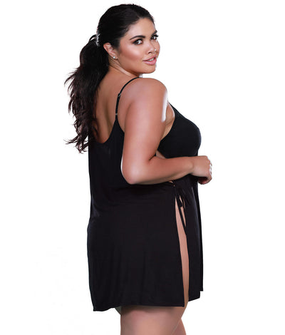 Plus Size Side Tie Chemise in Black