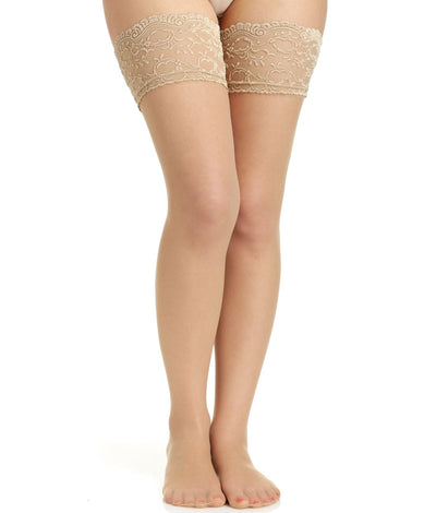 Lace Top Stockings in Nude