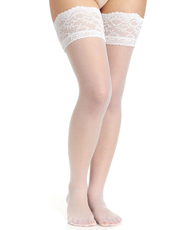 Lace Top Stockings in White